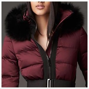 Burberry London Fox Fur Trim Hood in Deep Claret